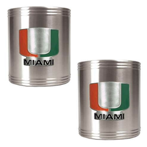 Miami Hurricanes College Stainless Steel Can Holder 2-Piece Set