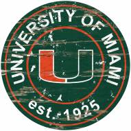 Miami Hurricanes Distressed Round Sign