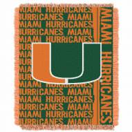 Miami Hurricanes Double Play Woven Throw Blanket