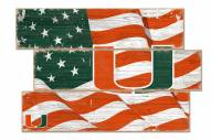 Miami Hurricanes Flag 3 Plank Sign