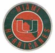 Miami Hurricanes Round State Wood Sign
