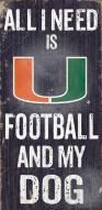Miami Hurricanes Football & Dog Wood Sign