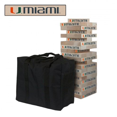 Miami Hurricanes Giant Wooden Tumble Tower Game