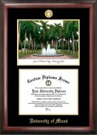 Miami Hurricanes Gold Embossed Diploma Frame with Campus Images Lithograph