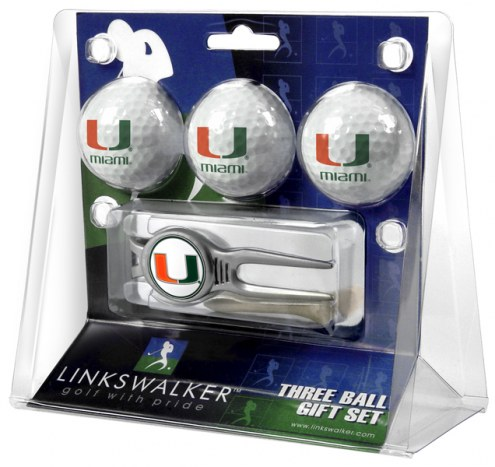 Miami Hurricanes Golf Ball Gift Pack with Kool Tool