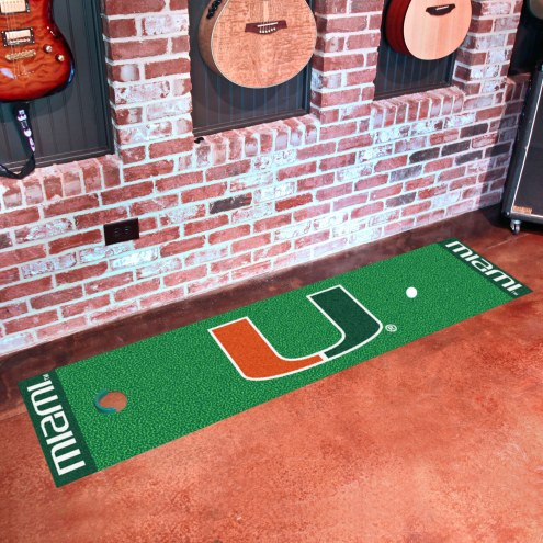 Miami Hurricanes Golf Putting Green Mat