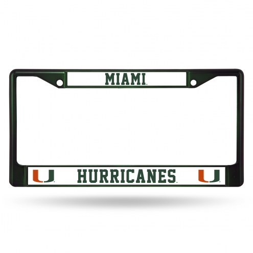 Miami Hurricanes Green Colored Chrome License Plate Frame