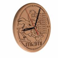 Miami Hurricanes Laser Engraved Wood Clock