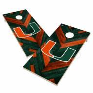 Miami Hurricanes Herringbone Cornhole Game Set