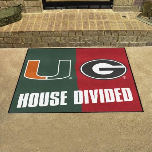 Miami Hurricanes/Georgia Bulldogs House Divided Mat