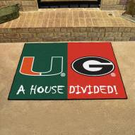 Miami Hurricanes/Georgia Bulldogs House Divided Mat