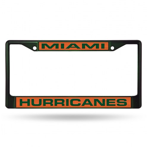 Miami Hurricanes Laser Colored Chrome License Plate Frame