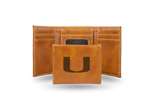 Miami Hurricanes Laser Engraved Brown Trifold Wallet