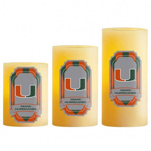 Miami Hurricanes LED Light Candle Set