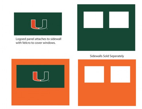 Miami Hurricanes Logo Canopy Sidewall Panel (Attaches to Window Sidewall)