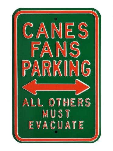 Miami Hurricanes Must Evacuate Parking Sign