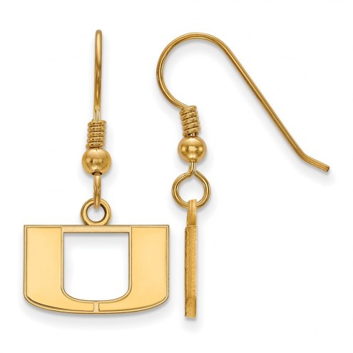 Miami Hurricanes NCAA Sterling Silver Gold Plated Extra Small Dangle Earrings