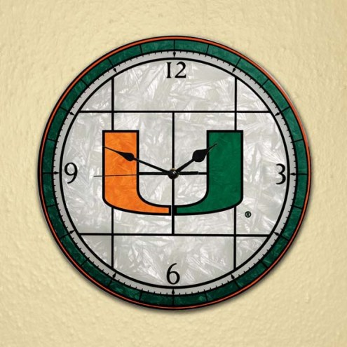 Miami Hurricanes NCAA Stained Glass Wall Clock