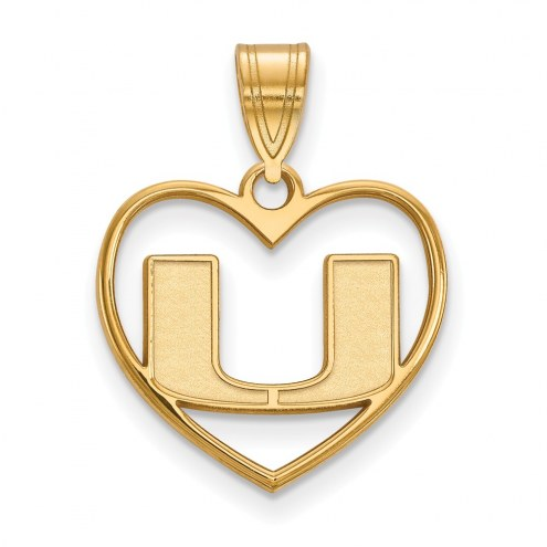 Miami Hurricanes NCAA Sterling Silver Gold Plated Heart Pendant