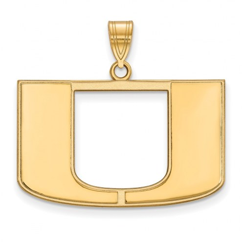 Miami Hurricanes NCAA Sterling Silver Gold Plated Large Pendant
