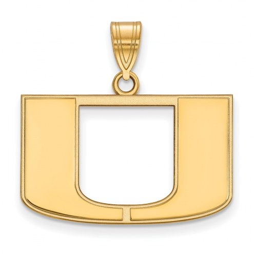 Miami Hurricanes NCAA Sterling Silver Gold Plated Medium Pendant