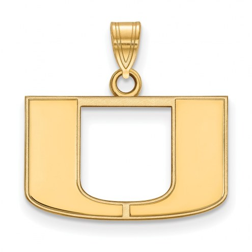 Miami Hurricanes NCAA Sterling Silver Gold Plated Small Pendant