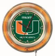Miami Hurricanes Neon Clock