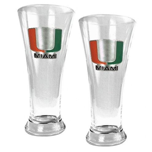 Miami Hurricanes College 2-Piece Pilsner Glass Set