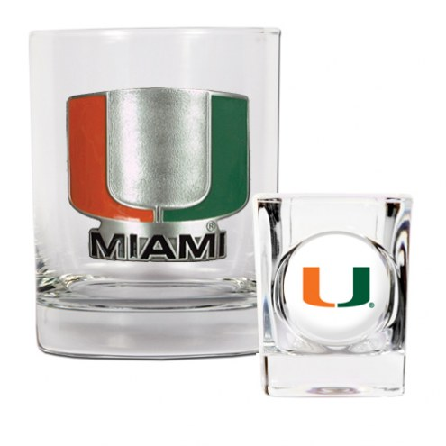Miami Hurricanes Rocks Glass & Shot Glass Set