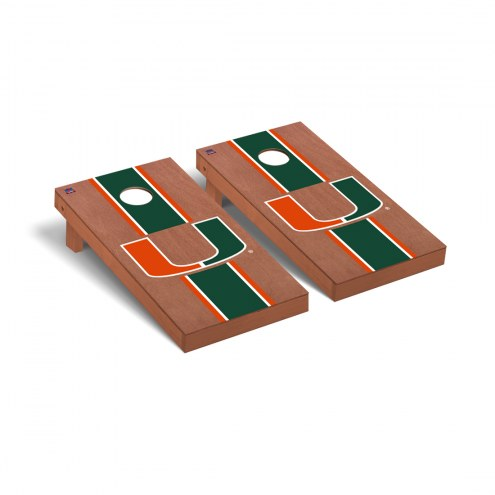 Miami Hurricanes Rosewood Stained Cornhole Game Set