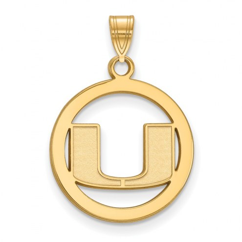Miami Hurricanes Sterling Silver Gold Plated Medium Pendant