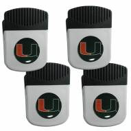 Miami Hurricanes 4 Pack Chip Clip Magnet with Bottle Opener