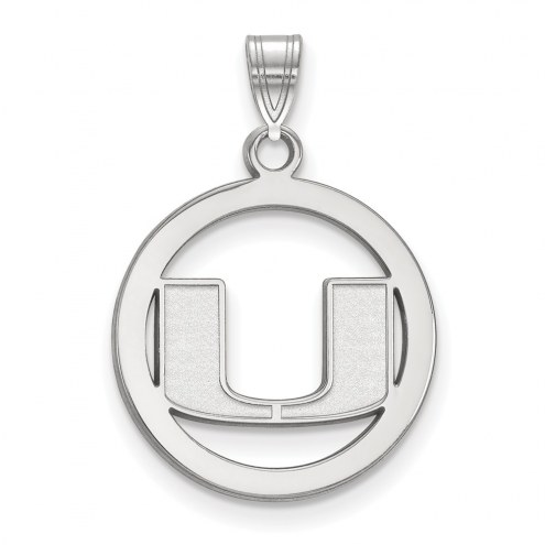 Miami Hurricanes Sterling Silver Medium Pendant