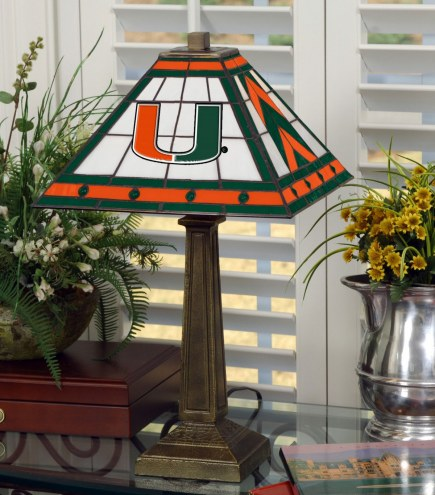 Miami Hurricanes Stained Glass Mission Table Lamp