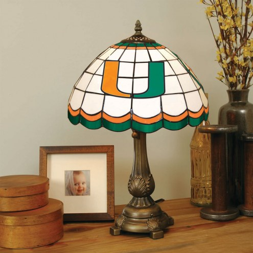 Miami Hurricanes Stained Glass Tiffany Table Lamp