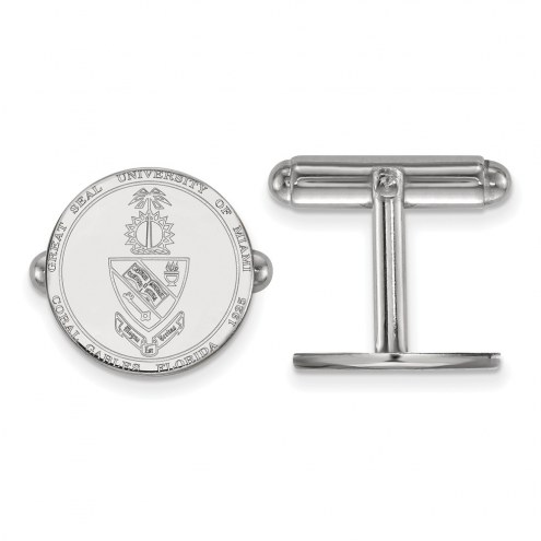 Miami Hurricanes Sterling Silver Cuff Links