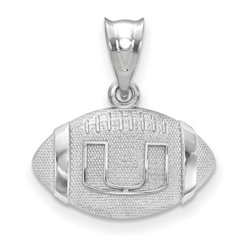 Miami Hurricanes Sterling Silver Football with Logo Pendant