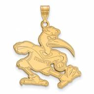 Miami Hurricanes Sterling Silver Gold Plated Extra Large Pendant