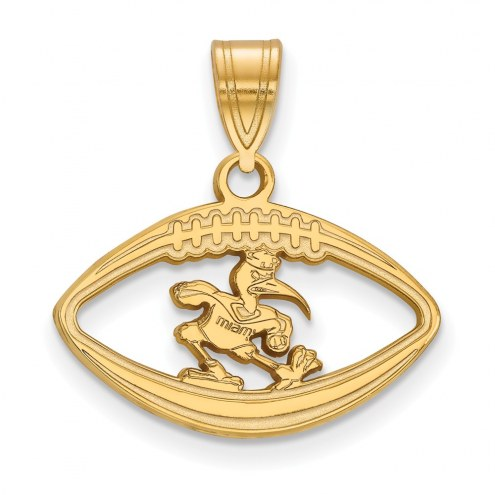 Miami Hurricanes Sterling Silver Gold Plated Football Pendant