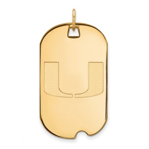 Miami Hurricanes Sterling Silver Gold Plated Large Dog Tag