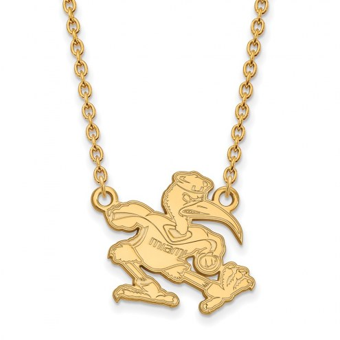 Miami Hurricanes Sterling Silver Gold Plated Large Pendant Necklace