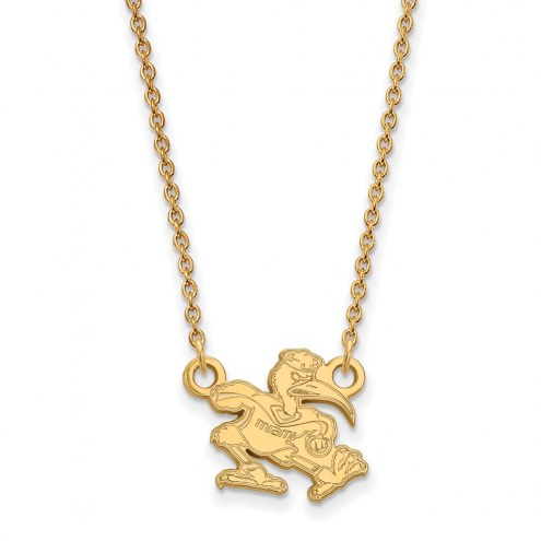 Miami Hurricanes Sterling Silver Gold Plated Small Pendant Necklace