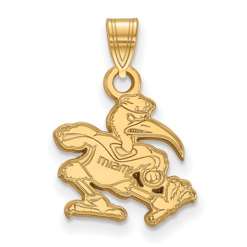 Miami Hurricanes Sterling Silver Gold Plated Small Pendant
