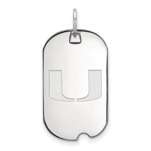 Miami Hurricanes Sterling Silver Small Dog Tag