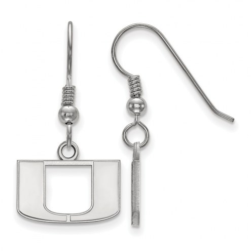 Miami Hurricanes Sterling Silver Extra Small Dangle Earrings
