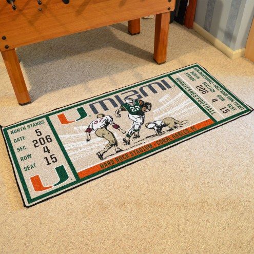 Miami Hurricanes Ticket Runner Rug