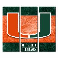 Miami Hurricanes Triptych Double Border Canvas Wall Art