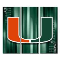 Miami Hurricanes Triptych Rush Canvas Wall Art