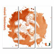 Miami Hurricanes Triptych Watercolor Canvas Wall Art