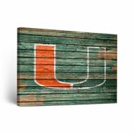 Miami Hurricanes Weathered Canvas Wall Art